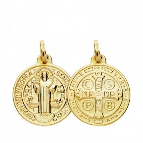 Medalla oro 18k San Benito 18mm. [AB3805]