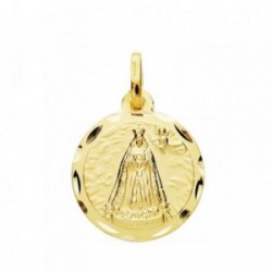 Medalla oro 18k Virgen Cotoca 18mm cerco tallado. [AB3815]