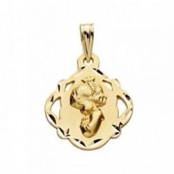Medalla oro 18k escapulario Virgen Niña 19mm. [AB3819]