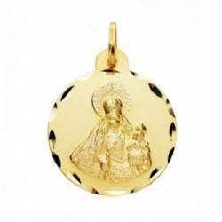 Medalla oro 18k  Virgen Rosario 22mm cerco tallado. [AB3825]