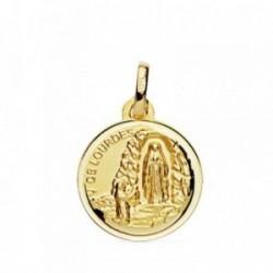 Medalla oro 18k Virgen Lourdes 16mm. [AB3826]