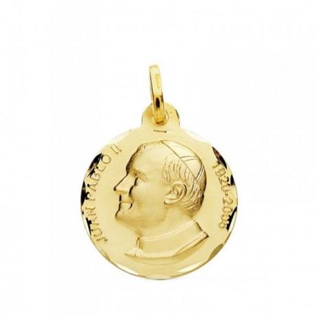 Medalla oro 18k  Juan Pablo II 18mm. filo tallado. [AB3829]