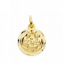 Medalla oro 18k Bautismo 16mm. tallada .  [AB3831]