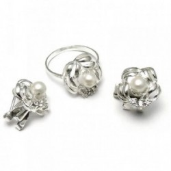 Juego plata ley 925m pendientes sortija talla 17 perla 5mm. [AB3852]
