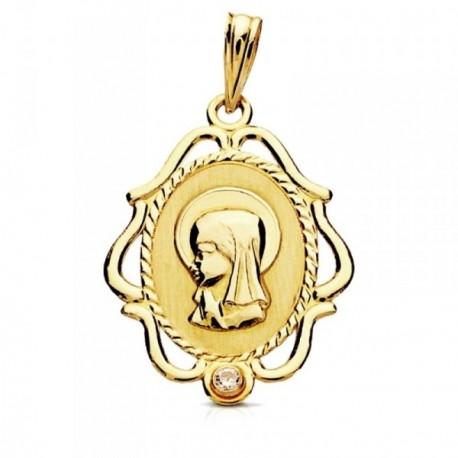 Medalla oro 9k Virgen Niña ovalada 24mm. centro liso borde detalles tallados calado circonita