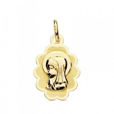 Medalla oro 9k nube Virgen Niña 17mm. ligera [AB3223GR]