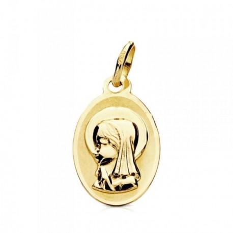 Medalla oro 9k óvalo Virgen Niña 17mm.  [AB3224GR]