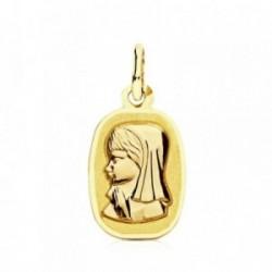 Medalla oro 9k rectangular Virgen Niña 17mm. [AB3226GR]