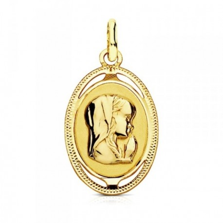 Medalla oro 9k óvalo tallado Virgen Niña 20mm.  [AB3227GR]