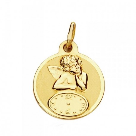 Medalla oro 9k bebé ángel sobre reloj 15mm. ligera bebé