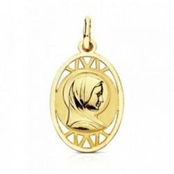 Medalla oro 9k Virgen Francesa 19mm. detalles calados ovalada cerco liso