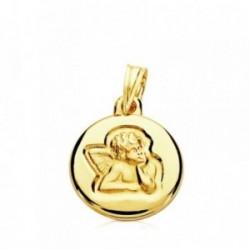 Medalla oro 9k bebé ángel sobre reloj 14mm. ligera bebé