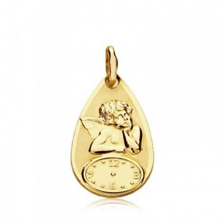 Medalla oro 9k Ángel sobre reloj 18mm. bebé
