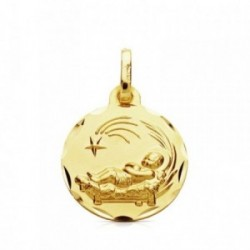 Medalla oro 9k Niño del Pesebre colgante 16mm. liso cerco detalle tallado peso 1.35gr.