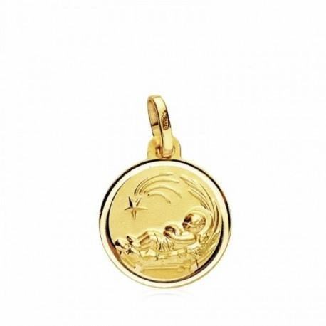 Medalla oro 18k pesebre 14mm. bisel liso  [AB3355GR]
