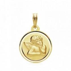 Medalla oro 18k  Ángel 16mm. bisel liso [AB3427GR]