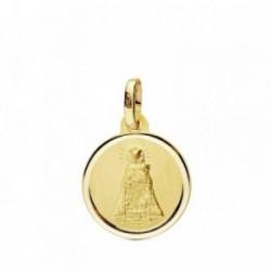 Medalla oro 18k Virgen Desamparados 14mm. bisel liso [AB3441GR]