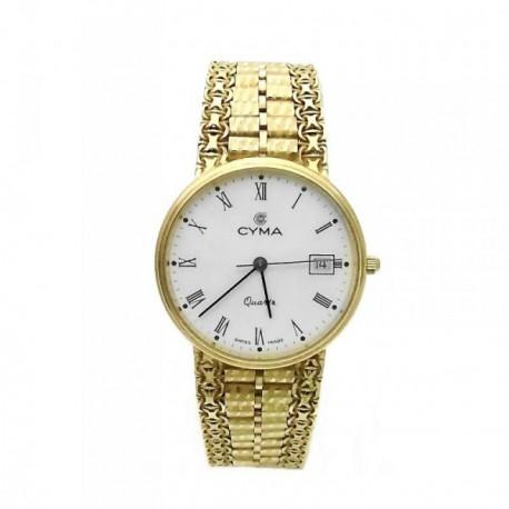 Reloj Cyma oro 18k hombre maya esfera blanca 6394 [AB3896]