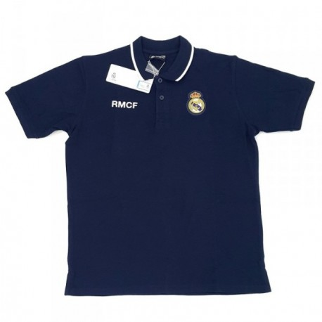Polo Real Madrid adulto marino escudo bordado