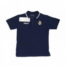 Polo Real Madrid junior manga corta marino escudo bordado oficial