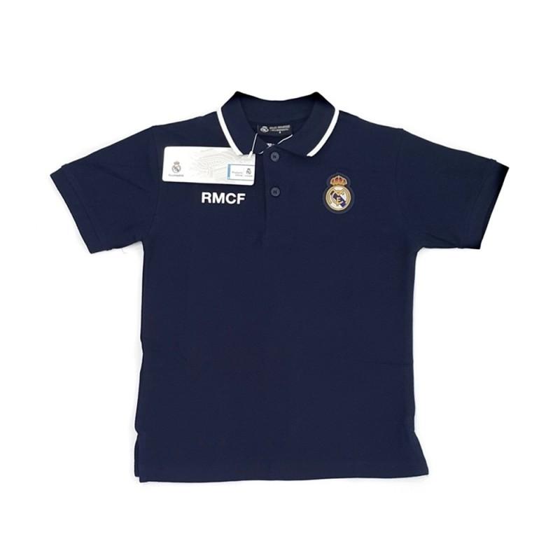 945ca257518e7 Polo Real Madrid junior manga corta marino escudo bordado oficial