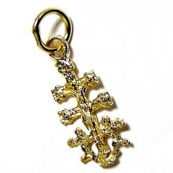 Cruz crucifijo oro 18k caravaca 14mm. ángeles cristo trasera Virgen