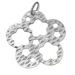 Colgante plata Ley 925m rodiado medallon margaritas caladas [AB3862]