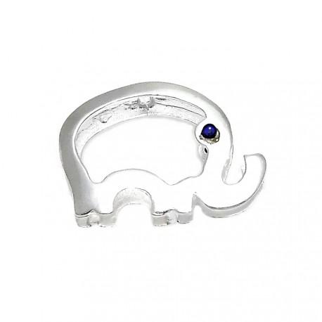 Colgante plata Ley 925m elefante 20mm. ojo cristal azul [AB3866]