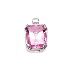 Colgante plata Ley 925m 15mm. centro piedra color rosa [AB3870]