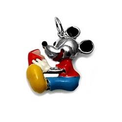 Colgante plata Ley 925m Mickey Mouse leyendo 27mm. Esmaltado [AB3872]