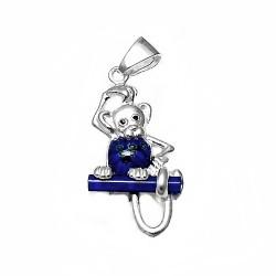 Colgante plata Ley 925m mono 42mm. cristal murano azul  [AB3874]