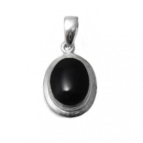 Colgante plata Ley 925m 39mm. centro piedra negra oval [AB3878]