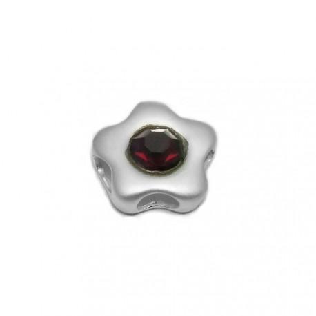 Colgante plata Ley 925m flor mate centro piedra color rojo [AB3881]