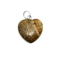 Colgante plata Ley 925m 21mm. corazon piedra marrón [AB3887]