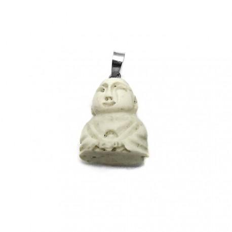 Colgante plata Ley 925m buda amuleto suerte 27mm. [AB3888]
