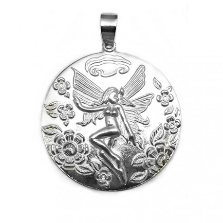 Colgante plata Ley 925m medallón hada redondo grande [AB3889]