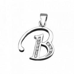 Colgante plata Ley 925m letra B banda circonitas [AB3936]