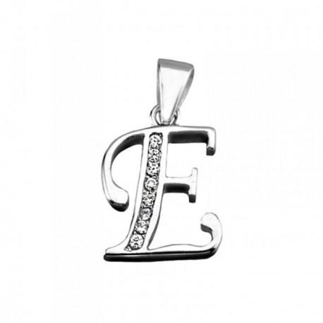 Colgante plata Ley 925m letra E banda circonitas [AB3939]