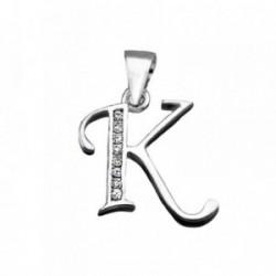 Colgante plata Ley 925m letra K banda circonitas [AB3945]