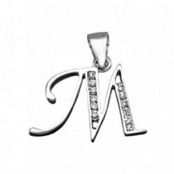 Colgante plata Ley 925m letra M banda circonitas [AB3947]