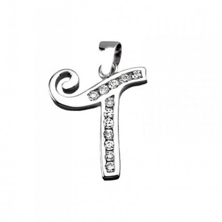 Colgante plata Ley 925m letra T banda circonitas [AB3954]