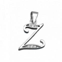 Colgante plata Ley 925m letra Z banda circonitas [AB3960]