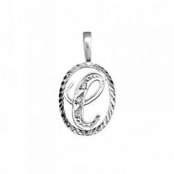 Colgante plata Ley 925m letra C circonitas cerco oval [AB3963]