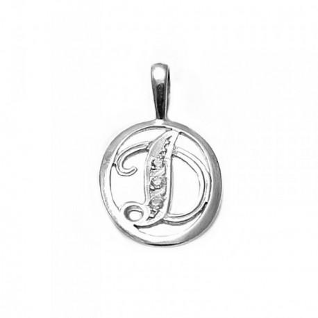 Colgante plata Ley 925m letra D circonitas cerco oval [AB3964]