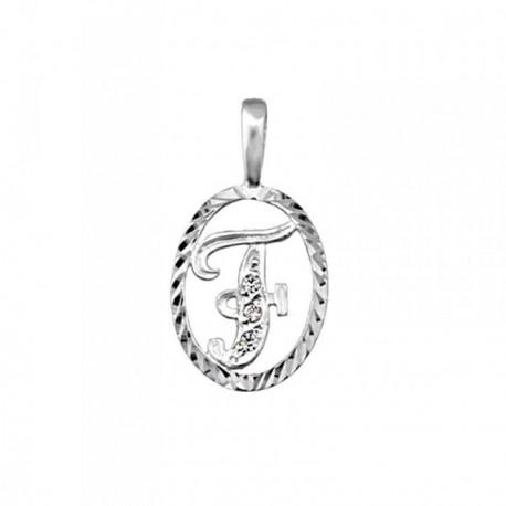 Colgante plata Ley 925m letra F circonitas cerco oval [AB3966]