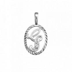 Colgante plata Ley 925m letra G circonitas cerco oval [AB3967]