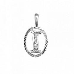 Colgante plata Ley 925m letra I circonitas cerco oval [AB3969]