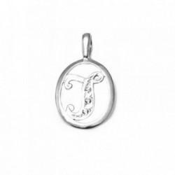 Colgante plata Ley 925m letra J circonitas cerco oval [AB3970]