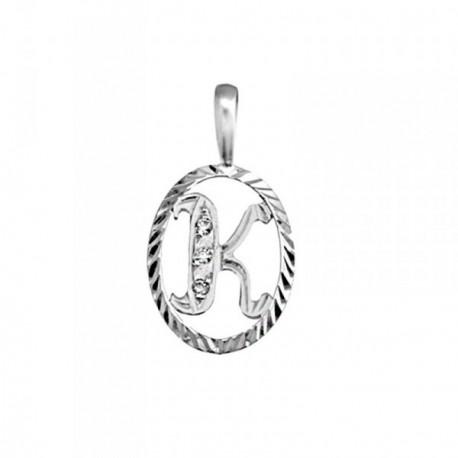 Colgante plata Ley 925m letra K circonitas cerco oval [AB3971]