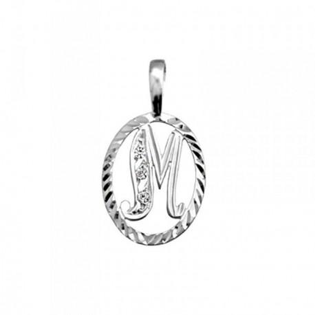 Colgante plata Ley 925m letra M circonitas cerco oval [AB3973]